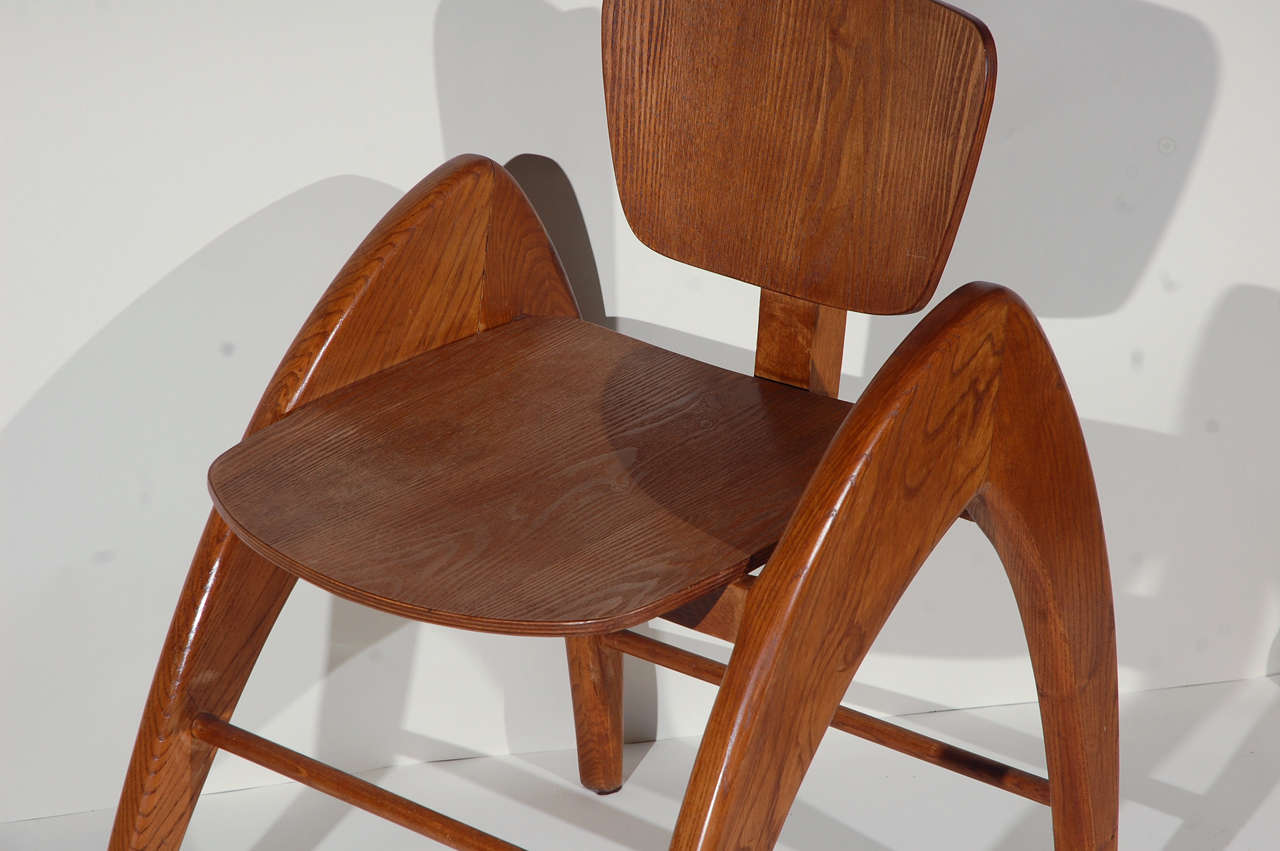 American Stylized Modernist Side Chair  For Sale