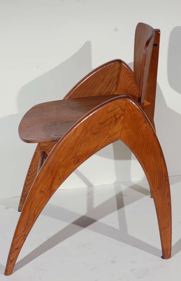 Wood Stylized Modernist Side Chair  For Sale