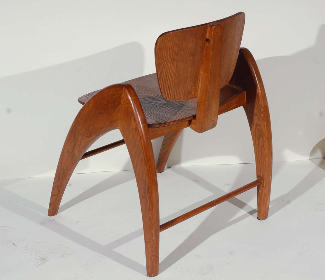 Stylized Modernist Side Chair  For Sale 1