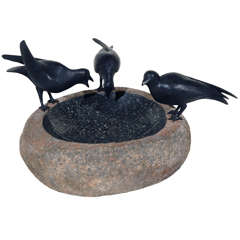 Bronze and Granite Bird Bath
