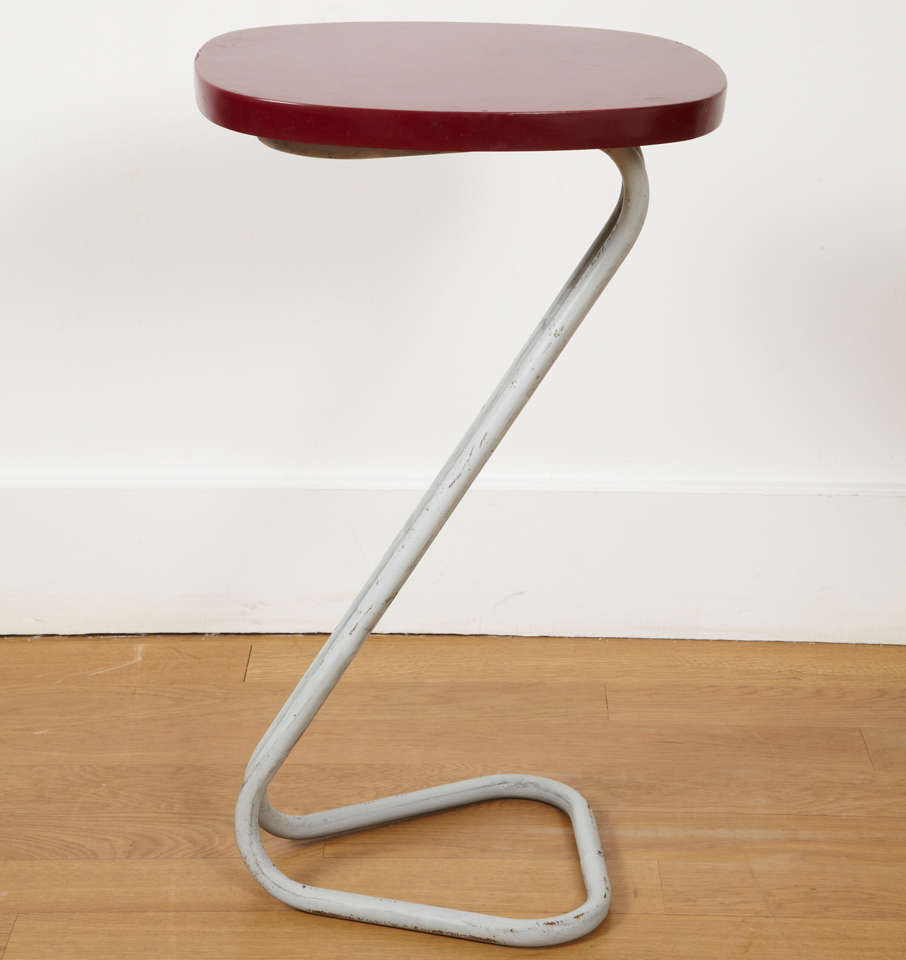 Mid-20th Century One Red Sellette Side Table by André Bloc 1951 For Sale