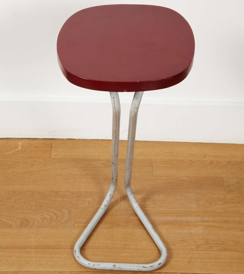 French One Red Sellette Side Table by André Bloc 1951 For Sale
