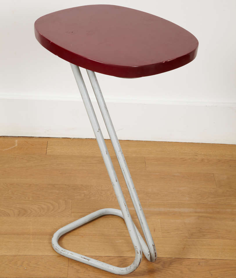 Patinated One Red Sellette Side Table by André Bloc 1951 For Sale