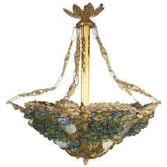 Art Decco Art Glass & Brass Chandelier