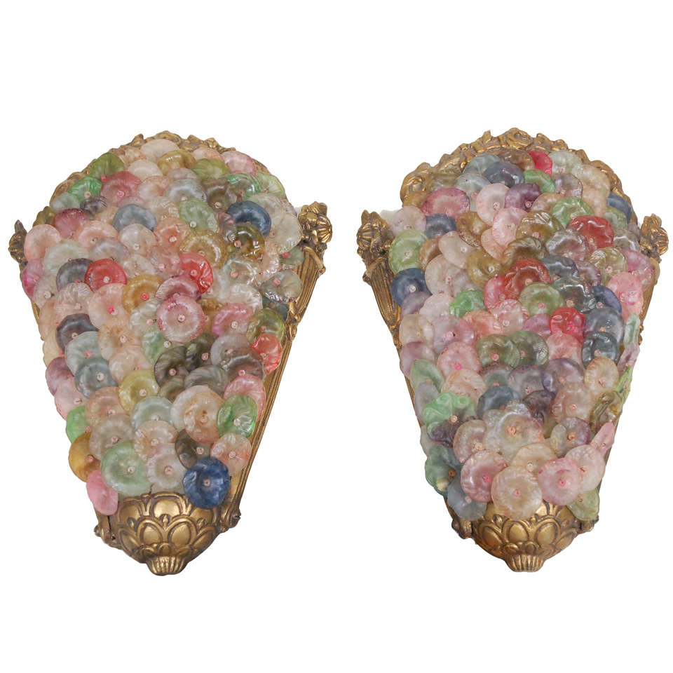 Pair Decco Art Glass and Brass Wall Sconces at 1stdibs