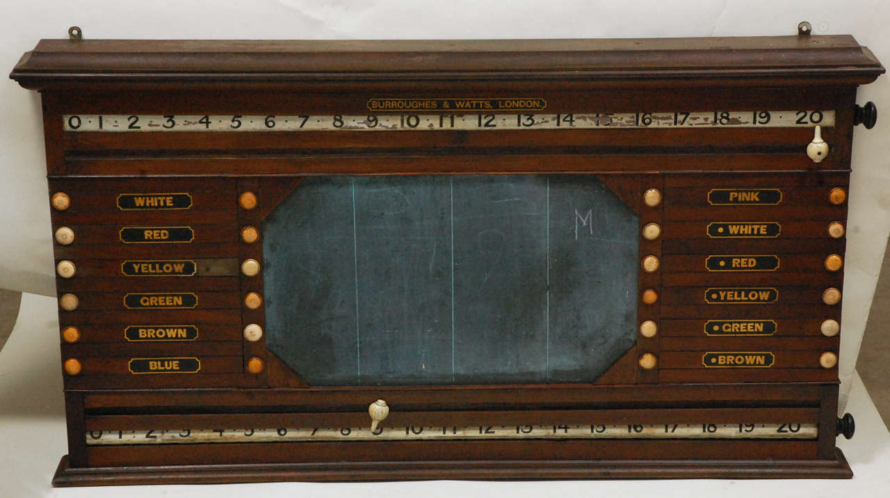 "This is a very old antique marking board, circa 1890, made in England by Burroughes and Watts, London. The board has a great variety of marking elements and would benefit players and score keepers in any games room. Use it for ""Pool, Billards,"