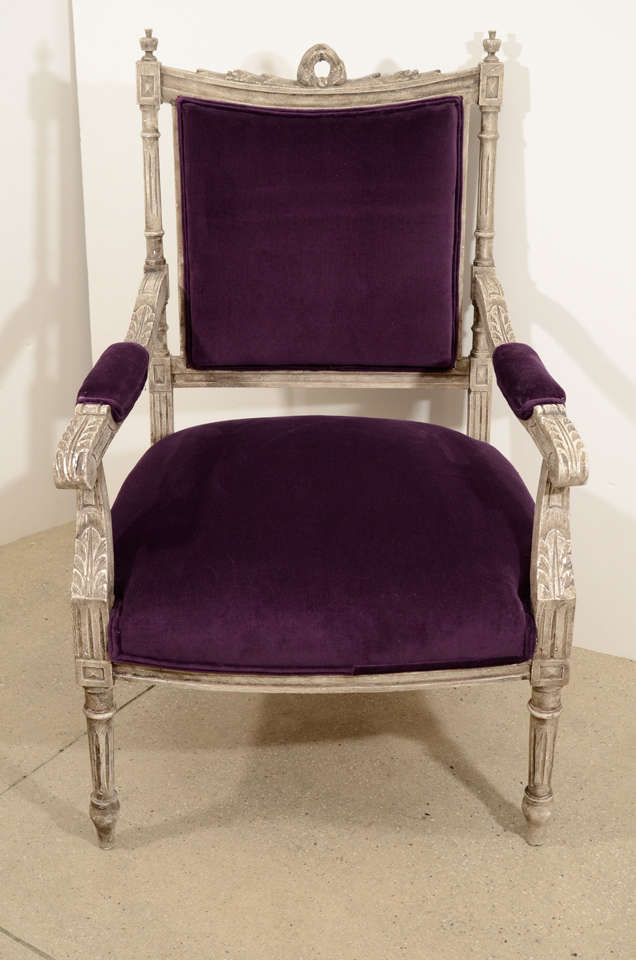 Pair of French Louis XVI Painted Armchairs in Purple Velvet 3