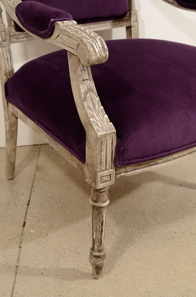 Pair of French Louis XVI Painted Armchairs in Purple Velvet 5