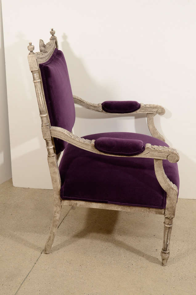 Pair of French Louis XVI Painted Armchairs in Purple Velvet 6