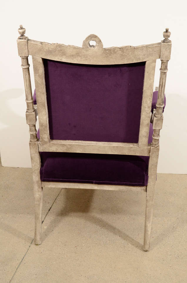 Pair of French Louis XVI Painted Armchairs in Purple Velvet 8