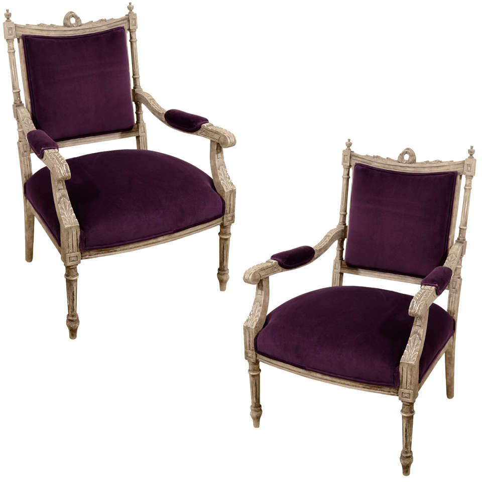 Pair of French Louis XVI Painted Armchairs in Purple Velvet 2