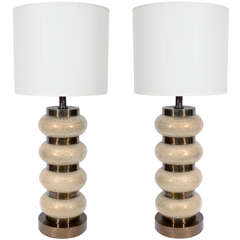 Pair of Crackled Glass Orb and Brass Lamps by Paul Hanson