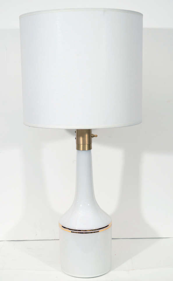 Pair of White Glass Lamps by Lyktan Haus 2