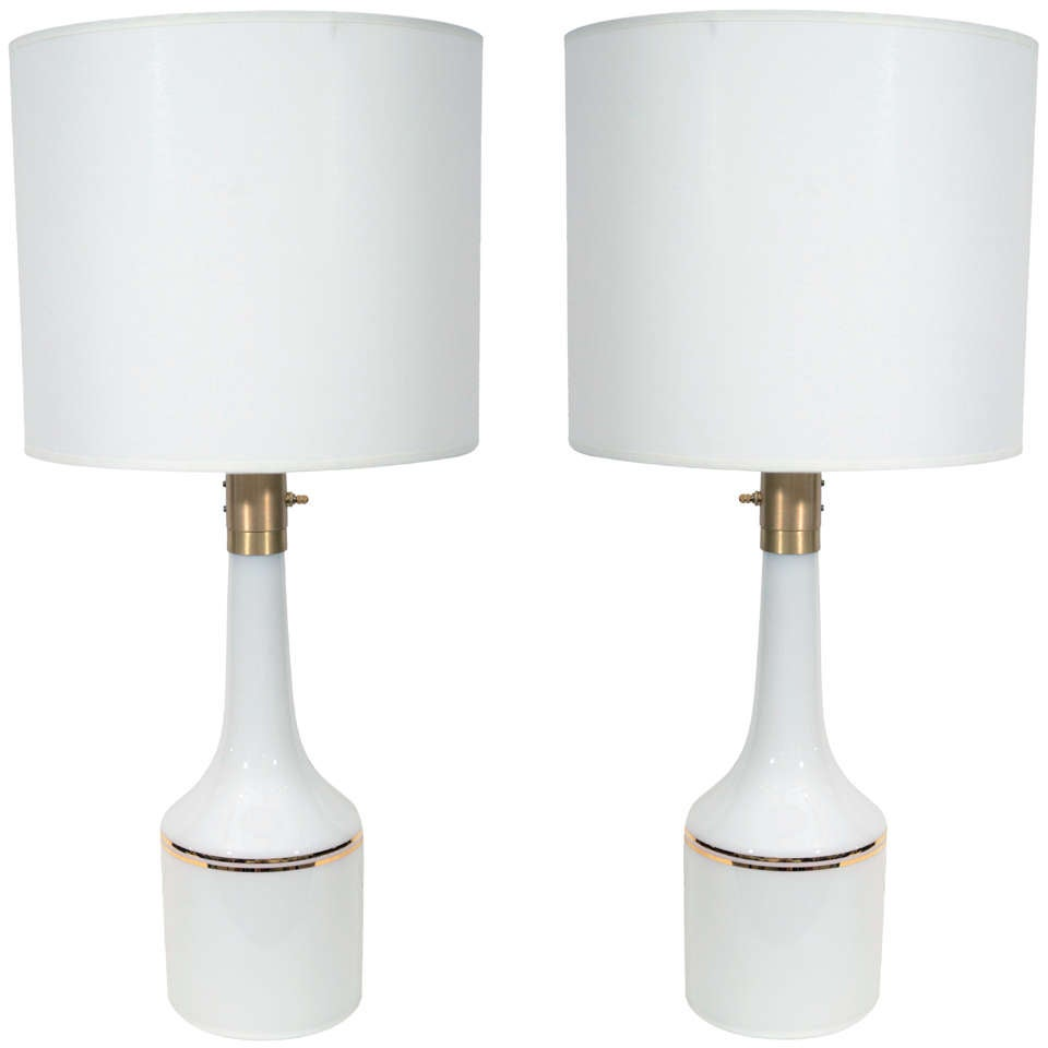 Pair of White Glass Lamps by Lyktan Haus 1