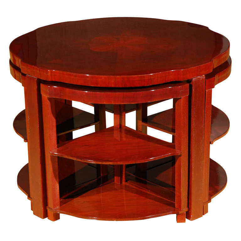 Art Deco Round Cocktail Table With Wedge Inserts At 1stdibs