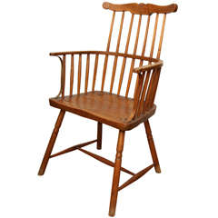 Mahogany English Windsor Style Arm Chair