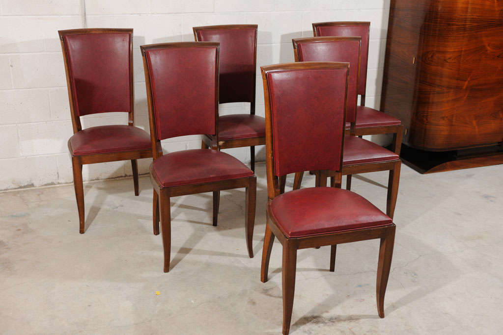 These Art Deco dining side chairs are in their original condition and are  made in France - Set Of 6 Antique Art Deco Burgundy Leather Dining Chairs At 1stdibs