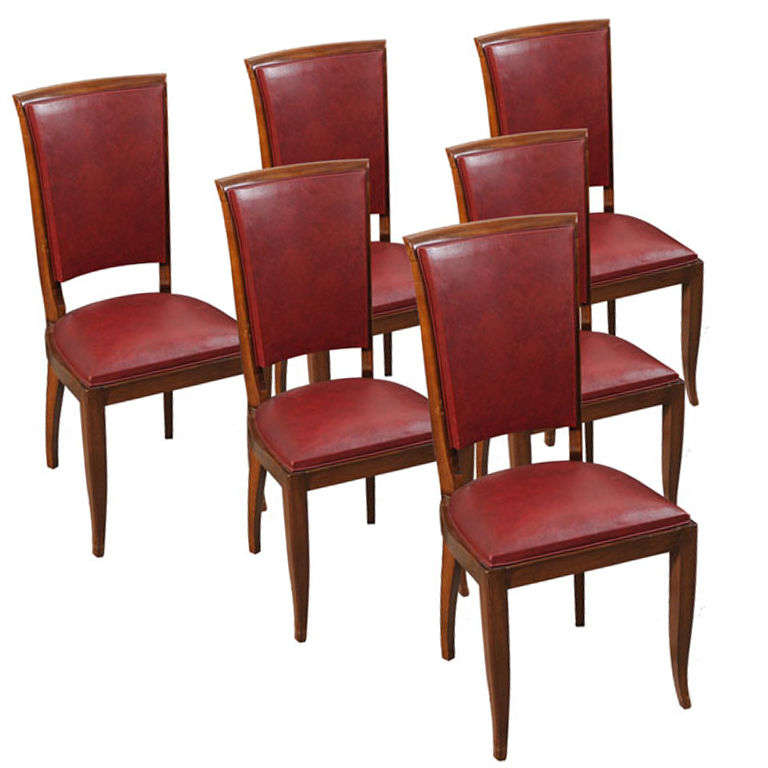 Set Of 6 Antique Art Deco Burgundy Leather Dining Chairs