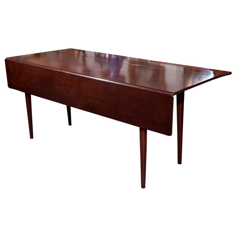Cherry wood dining table with drop leaf at 1stdibs for Dining room tables drop leaf