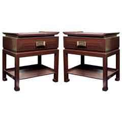 Pair of Chinese Style Mid Century Bedside Tables*