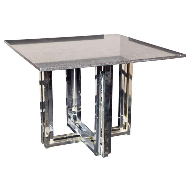 Square Center Table With Pierre Noire Black Stone Top At