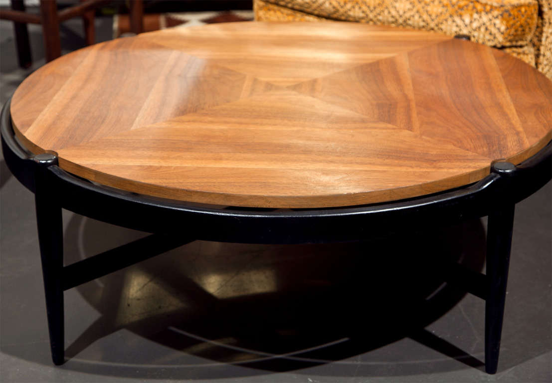 Mid Century Round Walnut And Black Coffee Table At 1stdibs