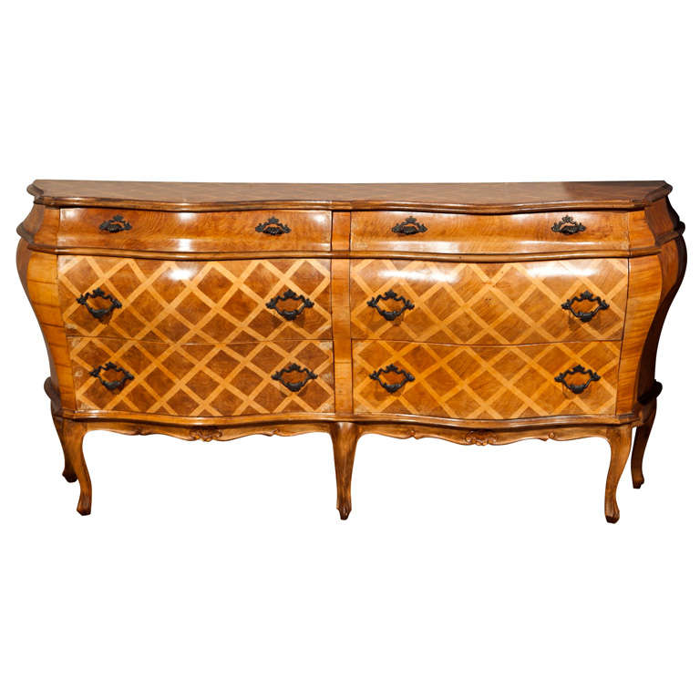 italian walnut double width inlaid commode at 1stdibs. Black Bedroom Furniture Sets. Home Design Ideas