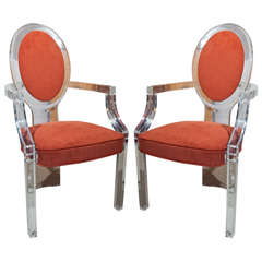 Fabulour Pair c.1950s Lucite Oval Back Chairs