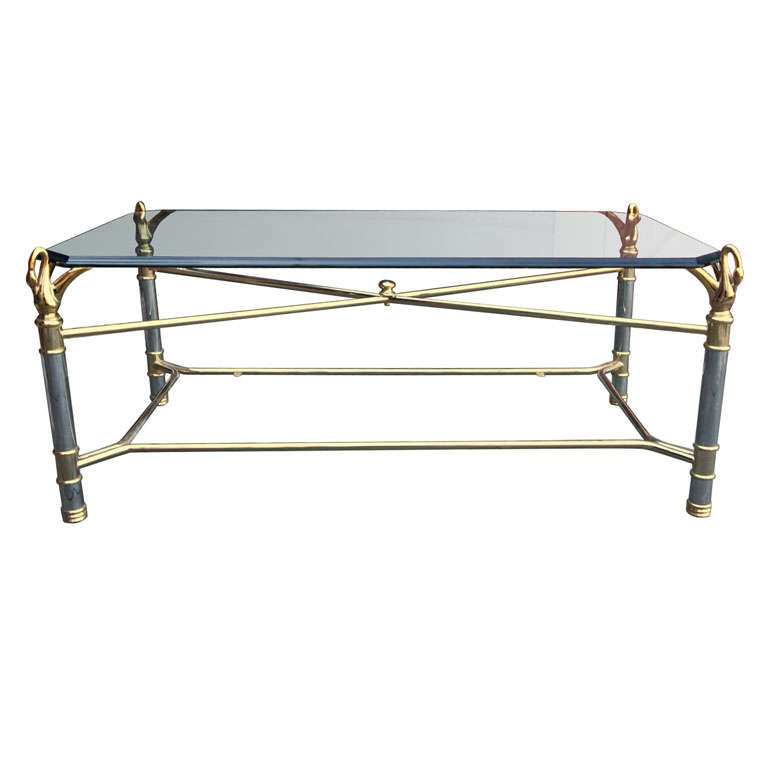 Chrome and Brass Swan Coffee Table