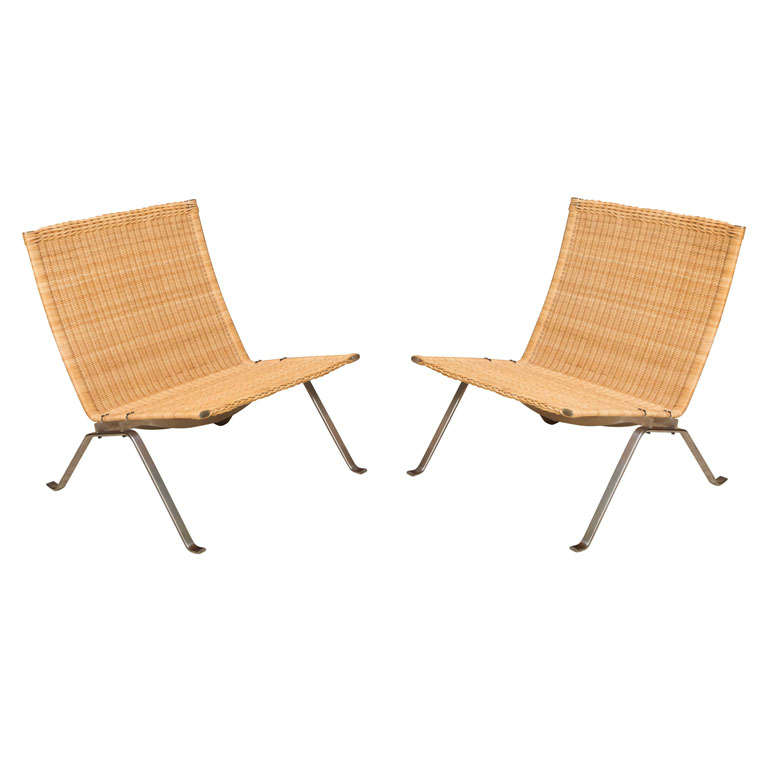 PAIR Poul Kjaerholm PK22 Lounge Chairs Wicker At 1stdibs