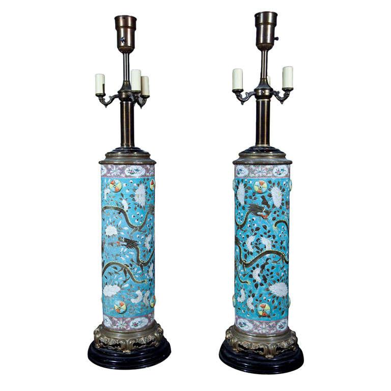 Mid century ginger jar lamp pair at 1stdibs - Pair Of Chinese Dayazhai Ceramic Dragon Lamps At 1stdibs