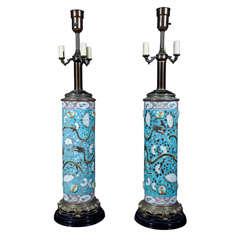 Pair of Chinese Dayazhai Ceramic Dragon Lamps