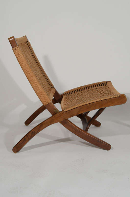 Hans Wegner Style Wood And Woven Rope Chair And Ottoman 3