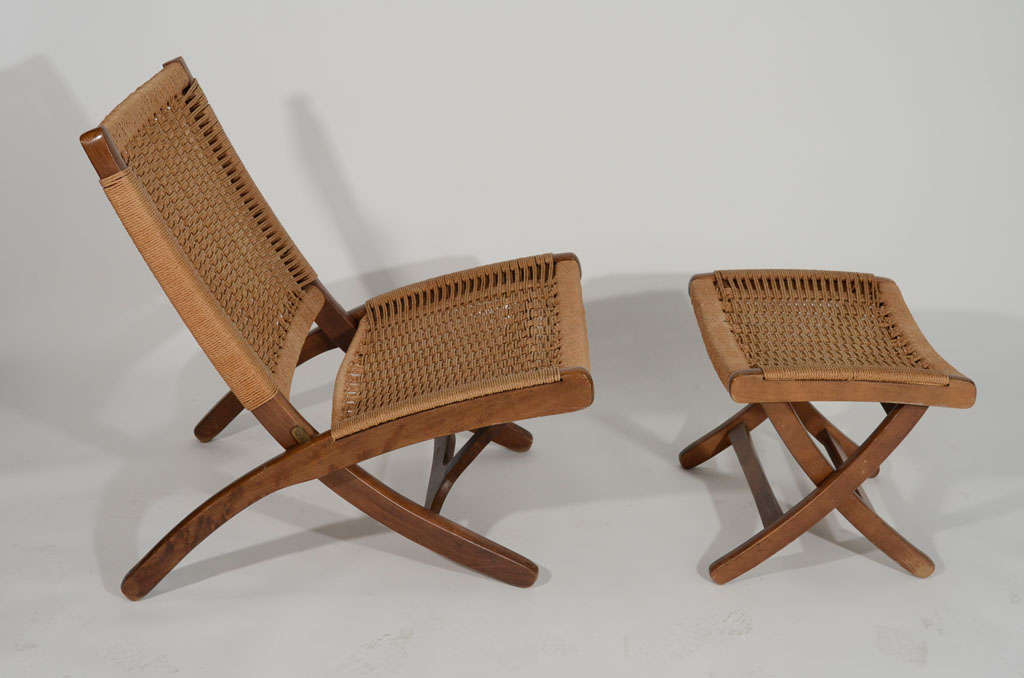 Wood And Woven Rope Chair Ottoman In The Style Of Hans Wegner Usa