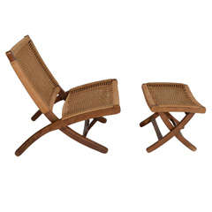 Hans Wegner style Wood and Woven Rope Chair and Ottoman