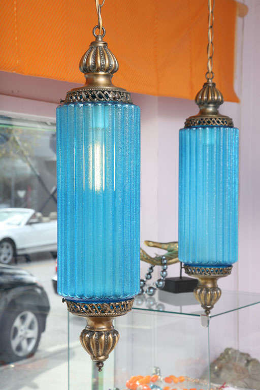 Pair Huge Turquoise Blue Antique Ceiling Pendants At 1stdibs