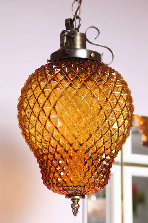 Italian SALE  SALE  PINEAPPLE ceiling pendant,amber color drastic reduction,moving sale, For Sale