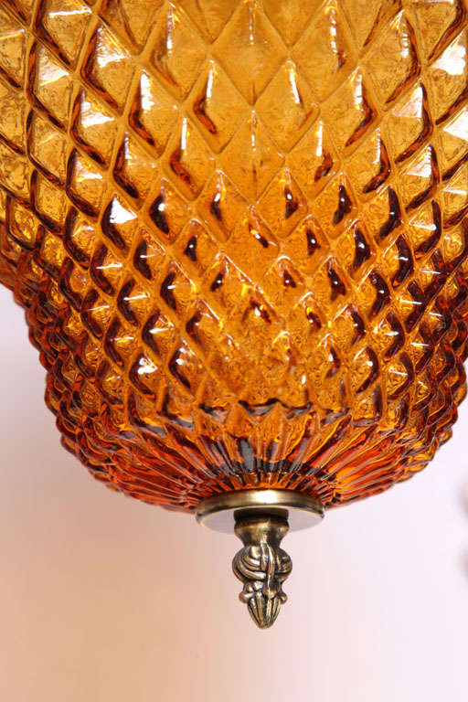 SALE  SALE  PINEAPPLE ceiling pendant,amber color drastic reduction,moving sale, In Excellent Condition For Sale In Miami, Miami Design District, FL