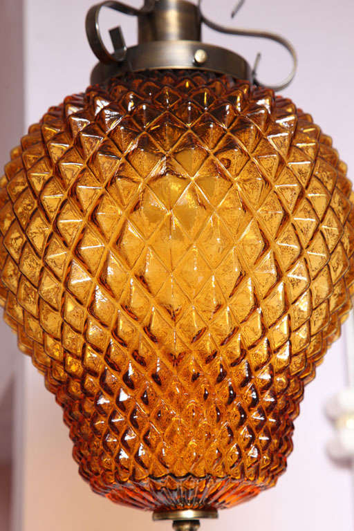 Mid-20th Century SALE ,Drastic REDUCTION,MOVING SALE,amber ceiling fixture,pineapple shape,rewire For Sale