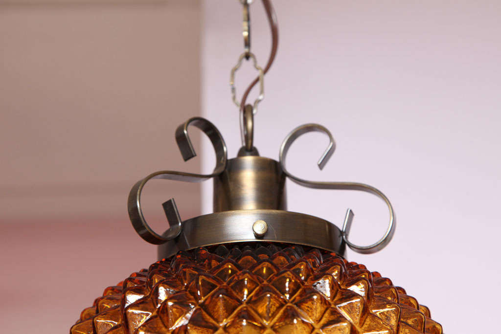 Metal SALE ,Drastic REDUCTION,MOVING SALE,amber ceiling fixture,pineapple shape,rewire For Sale