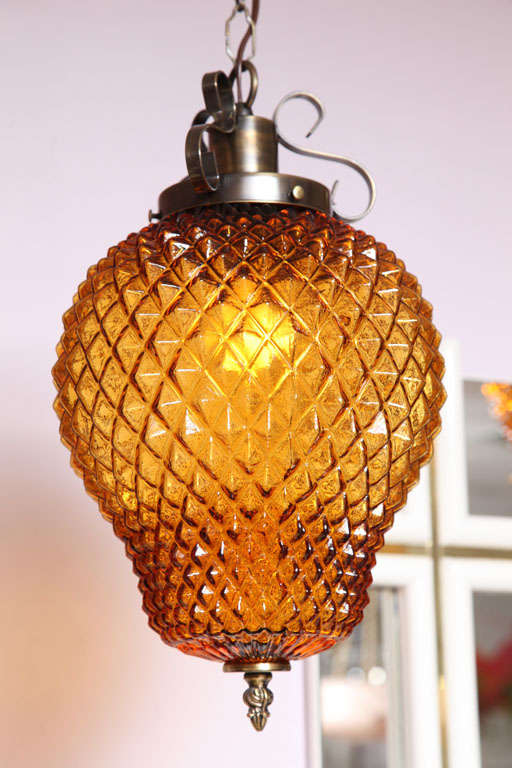SALE  SALE  PINEAPPLE ceiling pendant,amber color drastic reduction,moving sale, For Sale 3