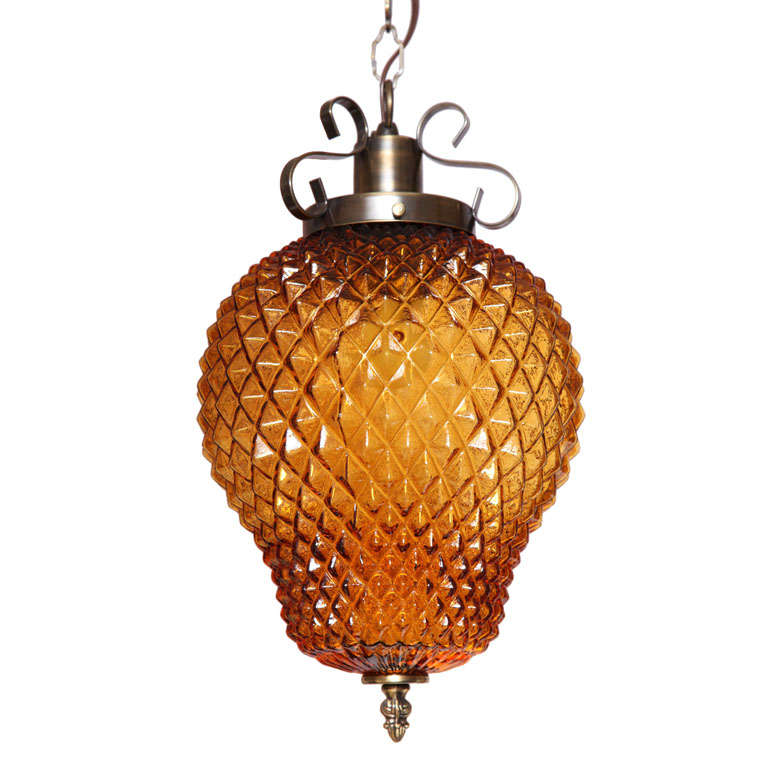 SALE ,Drastic REDUCTION,MOVING SALE,amber ceiling fixture,pineapple shape,rewire For Sale