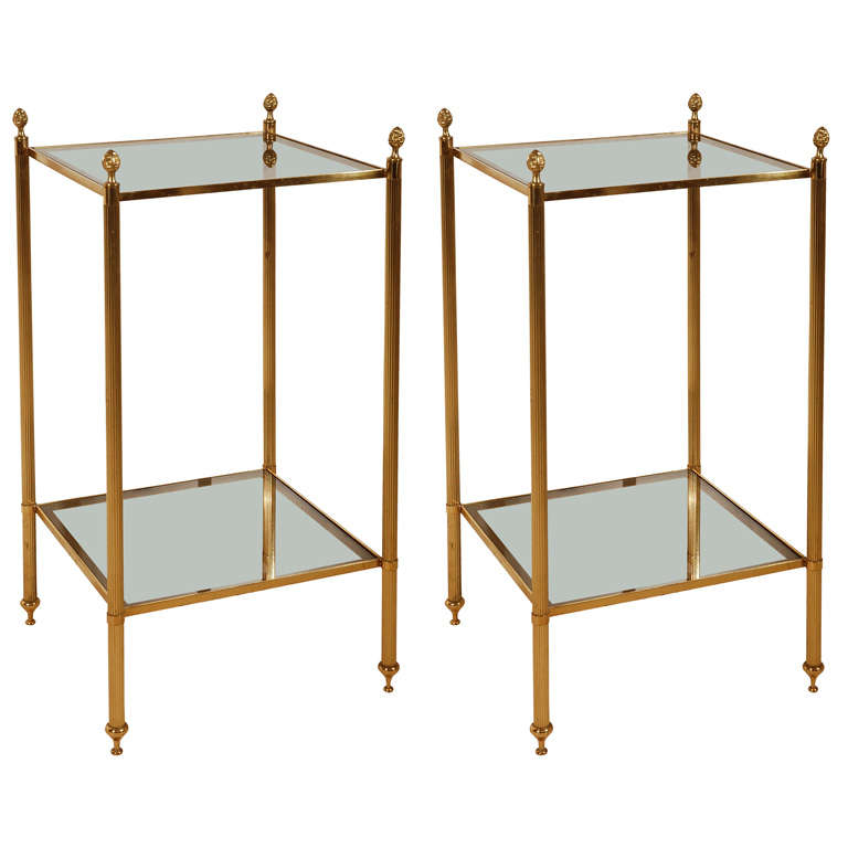 A Pair Of Brass And Glass 2 Tier Etagere Tables At 1stdibs