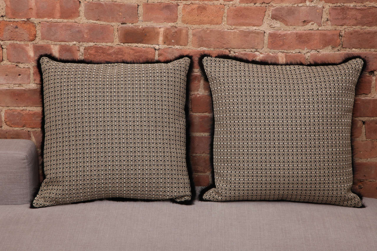 British Black Fur Square Pair of Pillows For Sale at 1stdibs