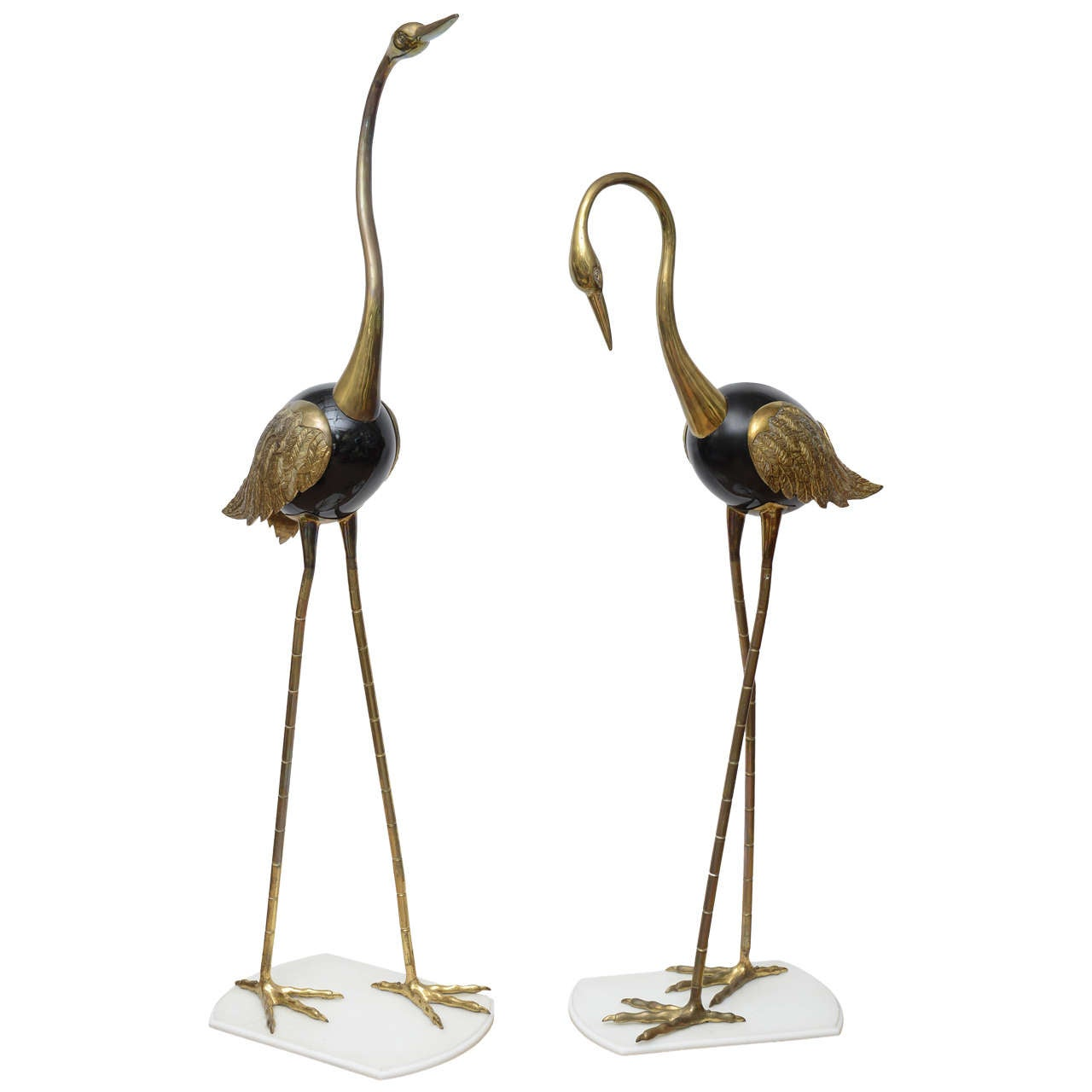 very tall brass cranes sculptures on lucite bases at 1stdibs. Black Bedroom Furniture Sets. Home Design Ideas