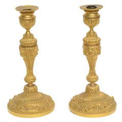 Pair of Gilt Bronze 18th Century Candleholders