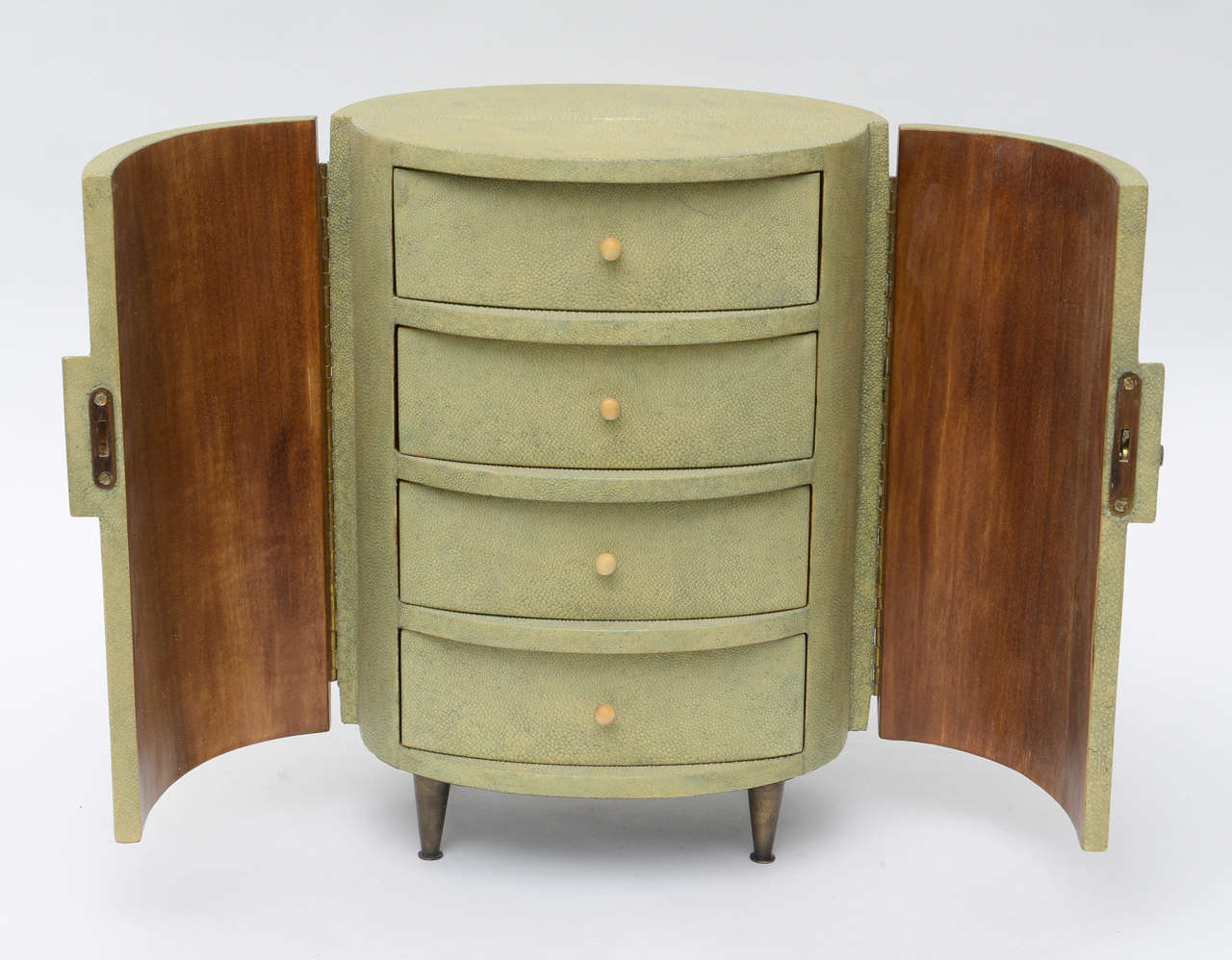 Mid-Century Modern R & Y Augousti Shagreen Covered Jewelry Cabinet For Sale
