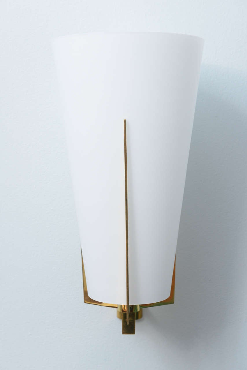 Set of Six Italian Modern Brass and Frosted Glass Wall Lights, Stilnovo at 1stdibs