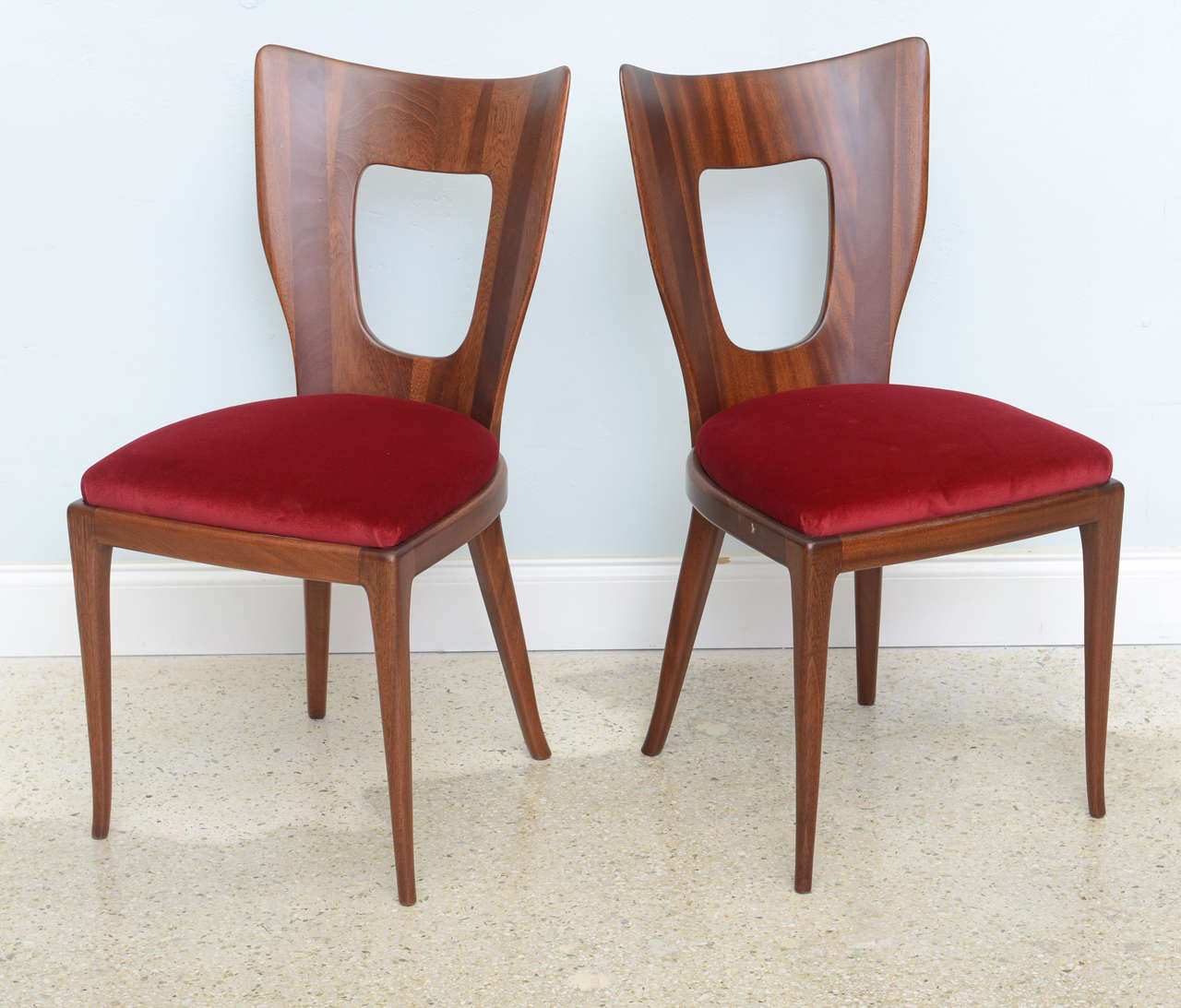 Set of 12 italian modern walnut dining chairs borsani at for Italian dining chairs modern