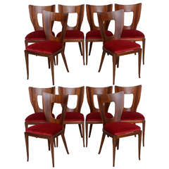 Set of 12 Italian Modern Walnut Dining Chairs, Borsani